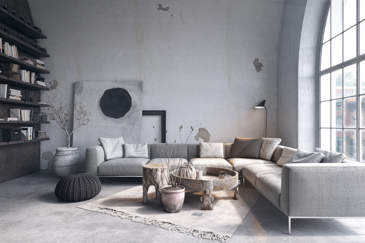 Superbe 38 |; Visualizer: Serhii Seinov. Create A Rustic Living Room In Black And  Grey.