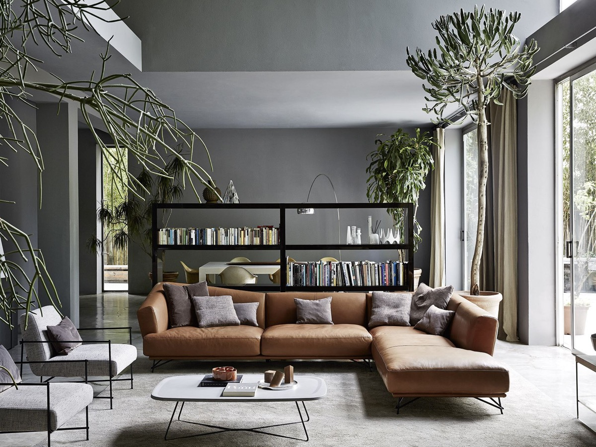 40 grey living rooms that help your lounge look - Grey and blue living room furniture ...