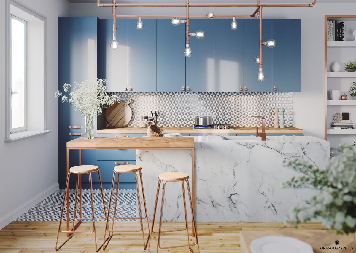 30 beautiful blue kitchens to brighten your day - Dunkelblaue wand ...