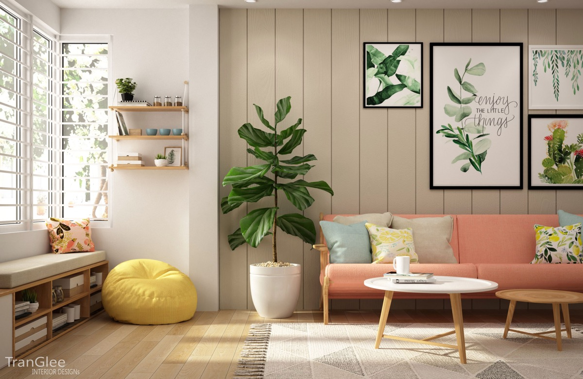 Colourful interiors with connection green coral blue and yellow decor