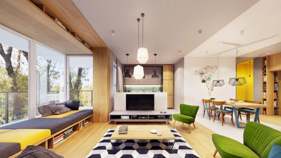 Funky Modern Interior with Natural Accents And Geometric Decor