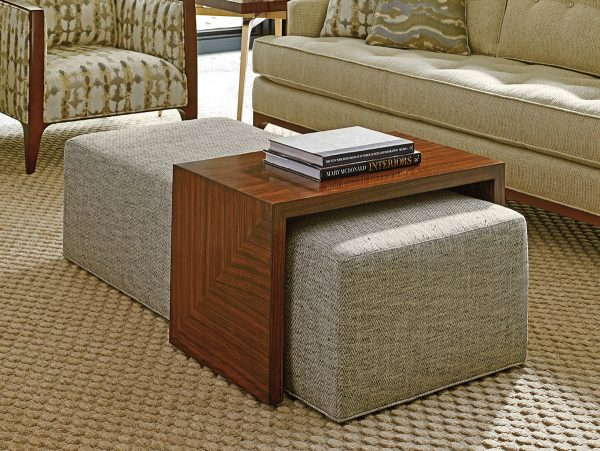 ottoman sophisticated square leather coffee brown table