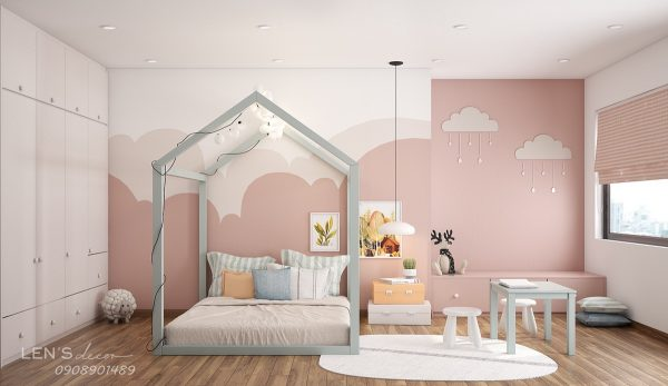 Good A Cloud Theme Forms The Basis Of This Pink Bedroom. A Fluffy Cloud Outline  Is The Subject Of The Wall Mural, Created In Two Shades Of Pink.