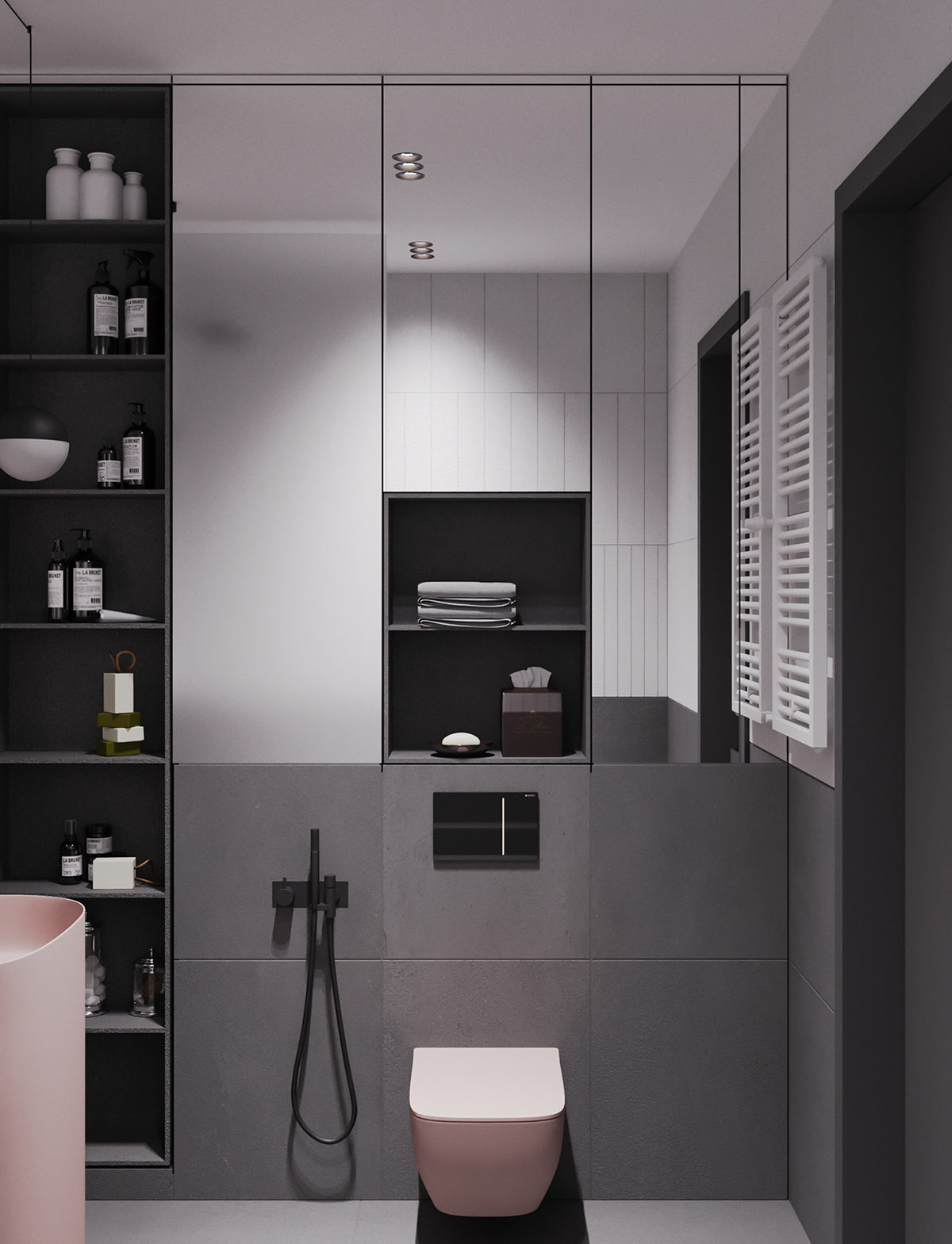 A Striking Example Of Interior Design Using Pink And Grey images 14