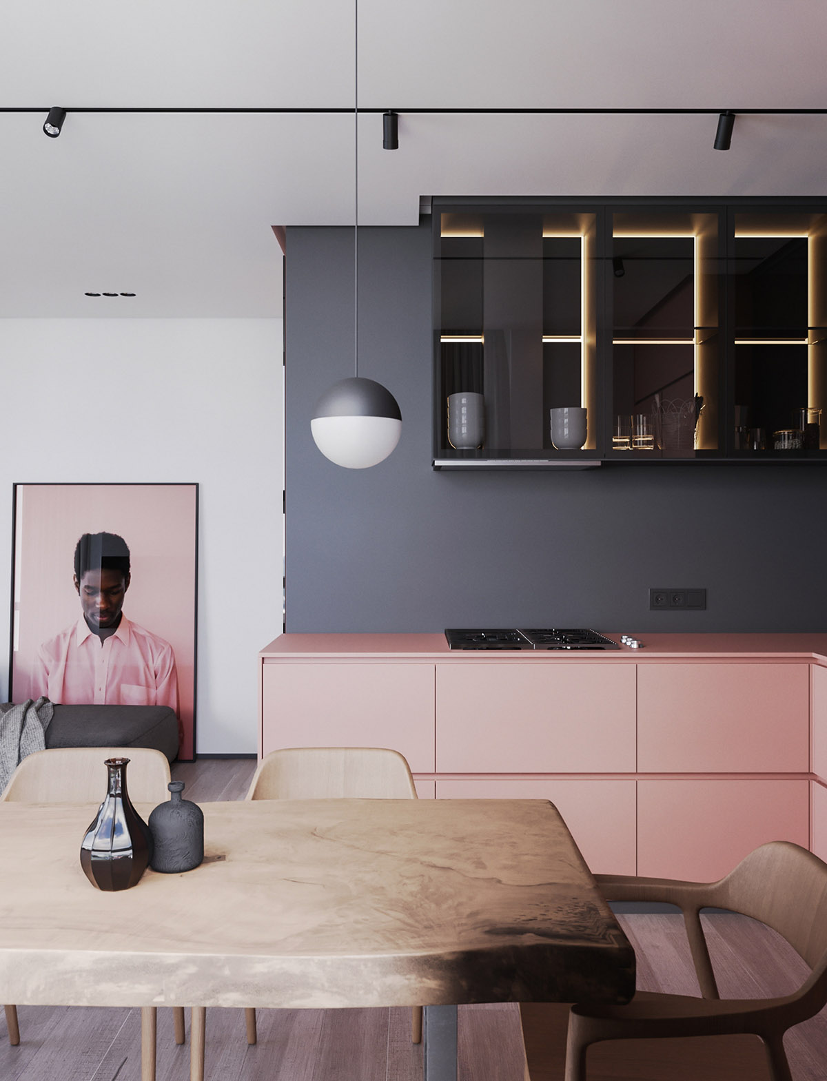A Striking Example Of Interior Design Using Pink And Grey images 5