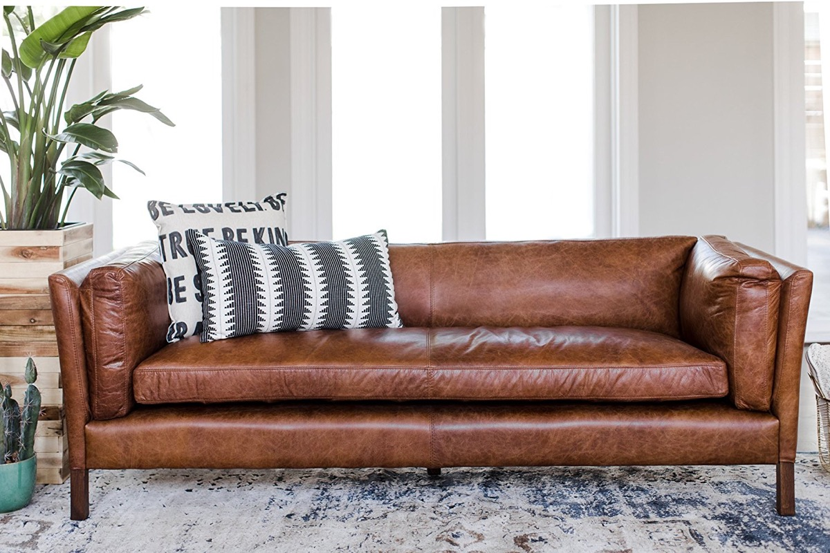 It Brown Mid Century Modern Leather Sofa