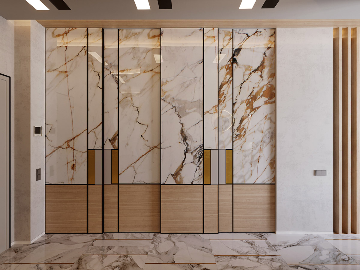 In The Hallway, Sliding Closet Doors Are Constructed To Match The Marble  And Wood Decor. Home Storage Systems And Decorative Marble Constructions In  This ...