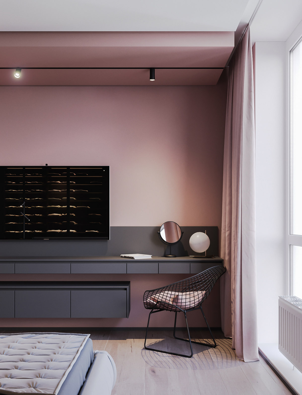 A Striking Example Of Interior Design Using Pink And Grey images 12