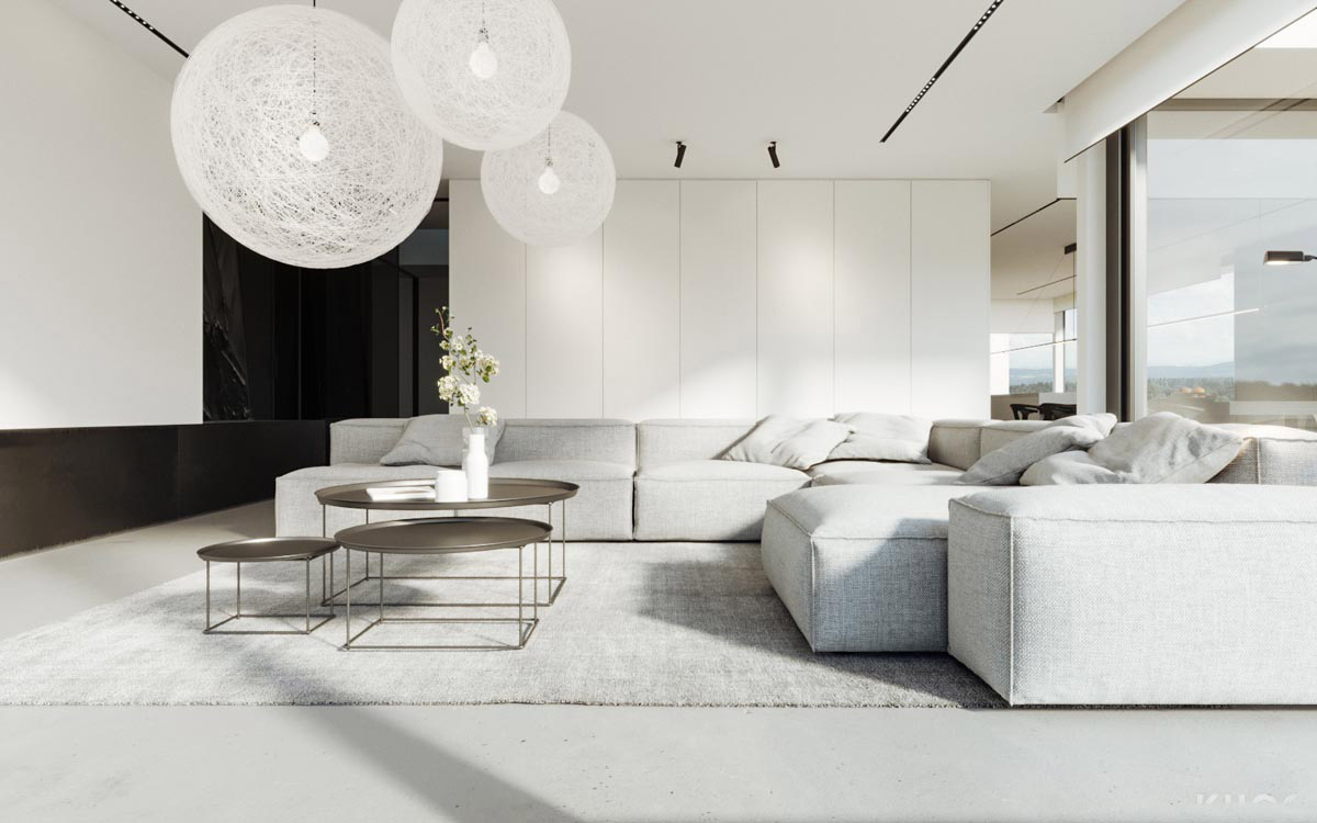 30 white living rooms that exude purity and peace for White minimalist living room