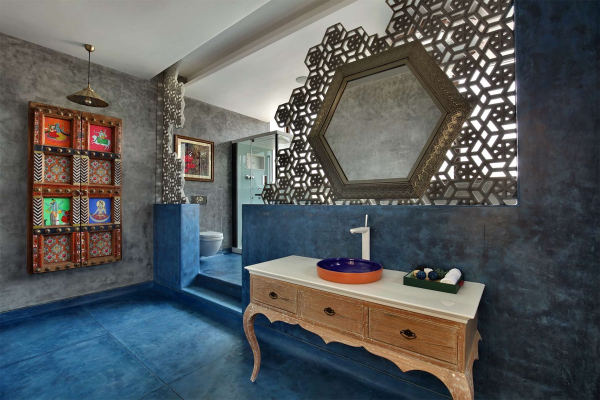 A Colour Rich Indian Home With Concrete Architecture And Interiors images 19