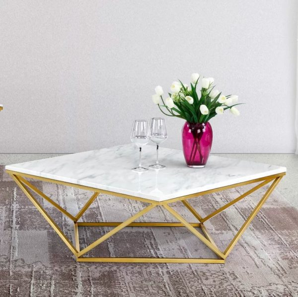 Modern Coffee Tables To Add Zing To Your Living - Geometric marble coffee table