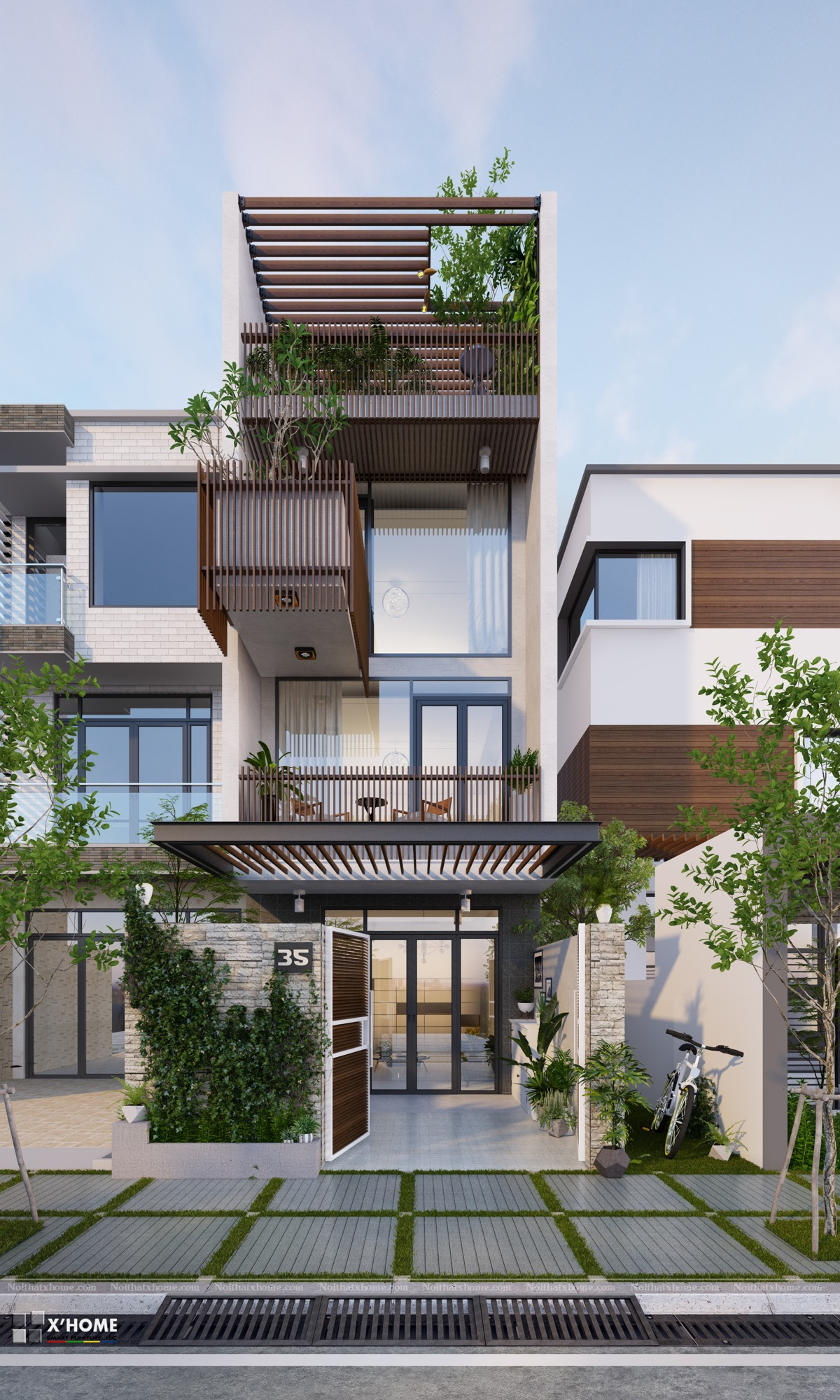 Front Elevation For Narrow House : Narrow lot houses that transform a skinny exterior into