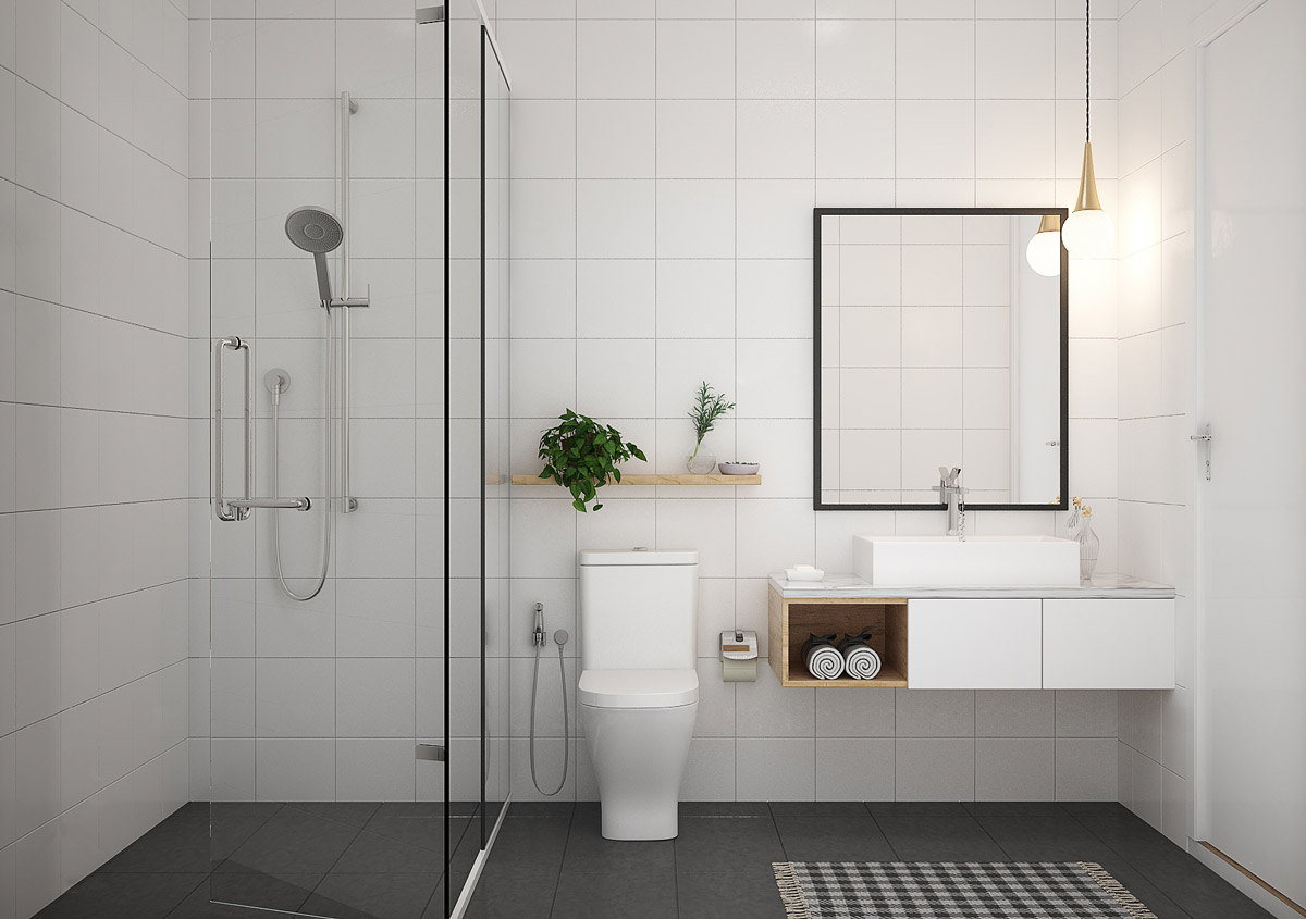 9 Visualizer 365 Design Crisp White And Grey Bathroom