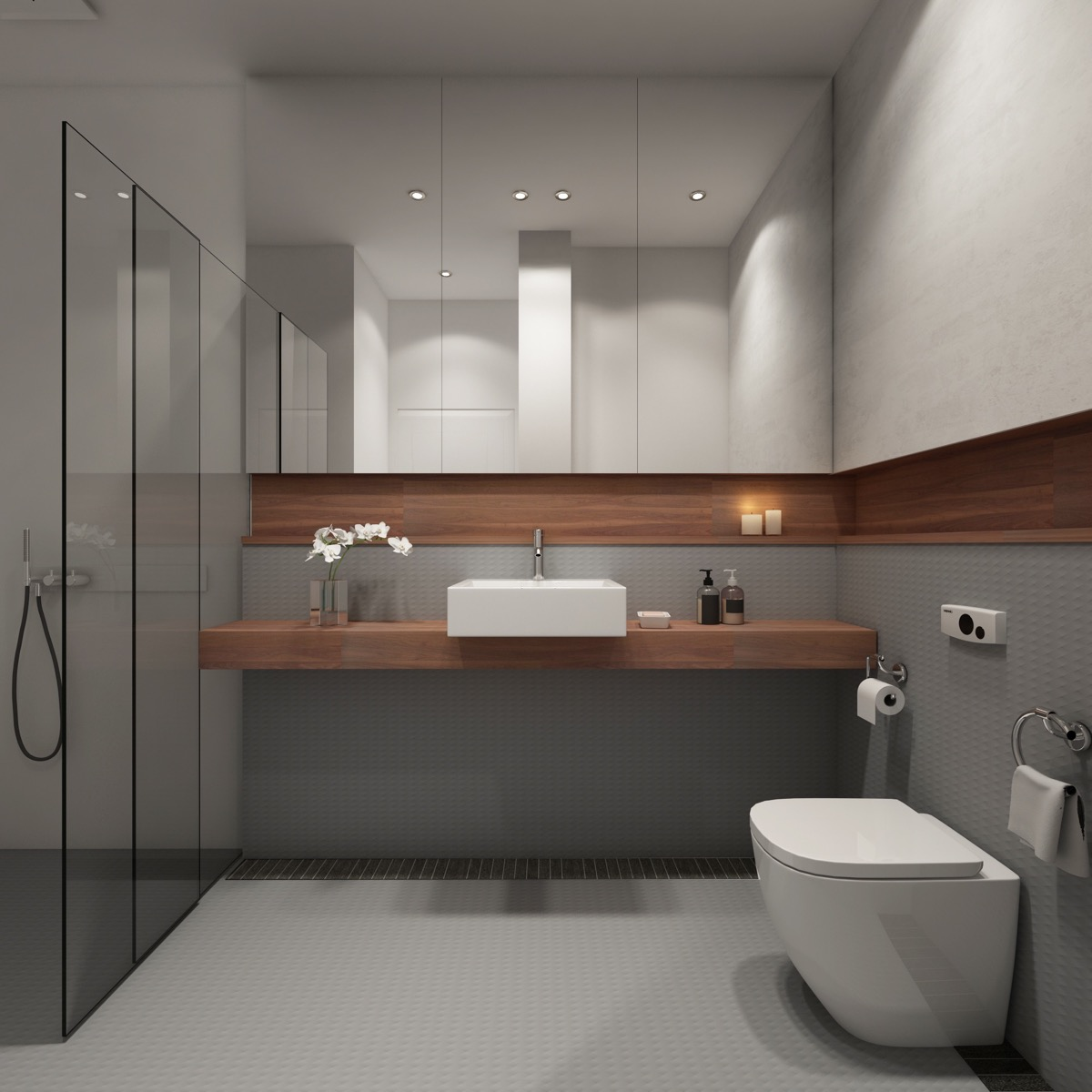 36 Modern Grey & White Bathrooms That Relax Mind Body & Soul images 23