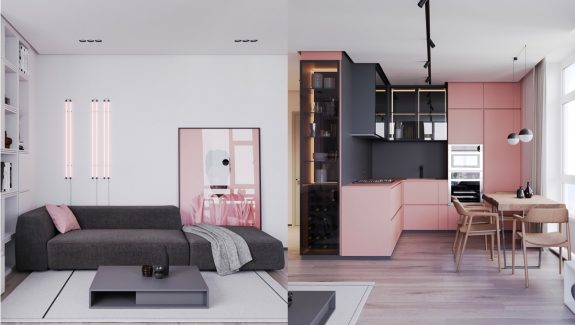 A Striking Example Of Interior Design Using Pink And Grey