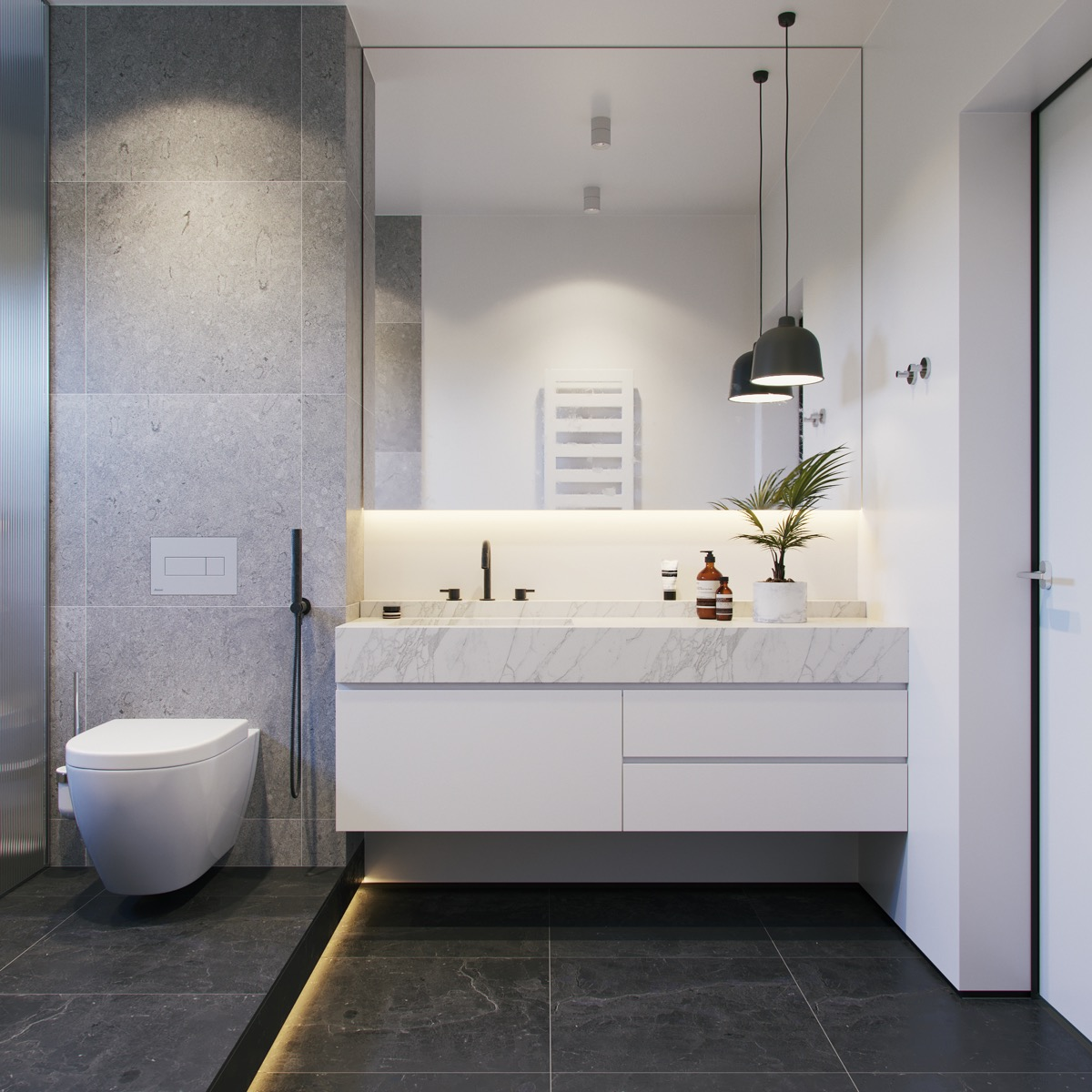 Merveilleux 2 |; Visualizer: Alexandr Aranovich. This Grey And White Master Bathroom  Uses A Darker Floor ...