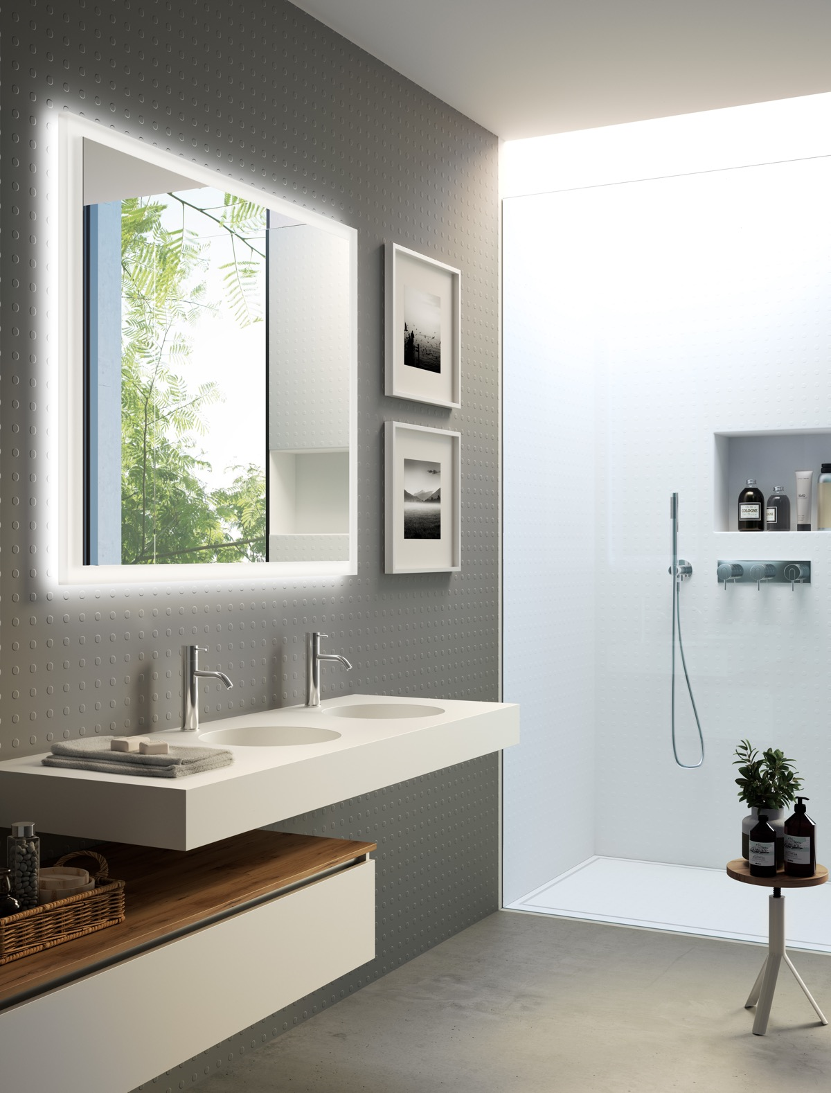 Exceptionnel 13 |; Visualizer: Marco Podrini. White And Grey Bathroom ...