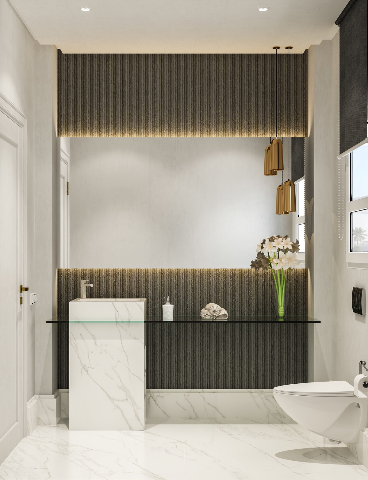 Merveilleux 8 |; Visualizer: Ahmed Morsy. Elegance Abounds In This Small Grey And White  Bathroom.