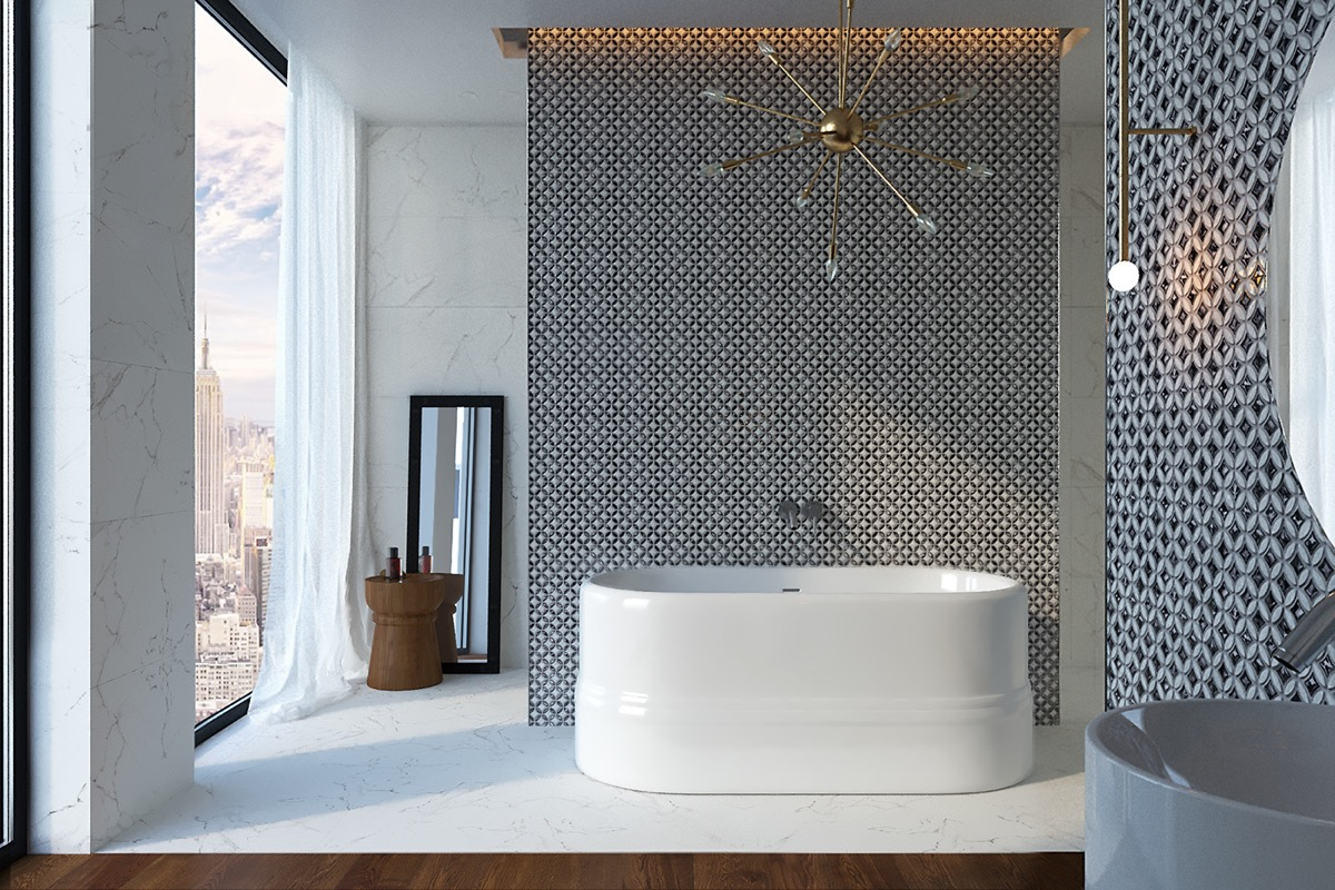 36 Modern Grey & White Bathrooms That Relax Mind Body & Soul images 27
