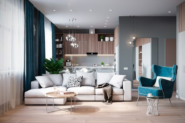 Grey Based Decor With Warming Accent Colours