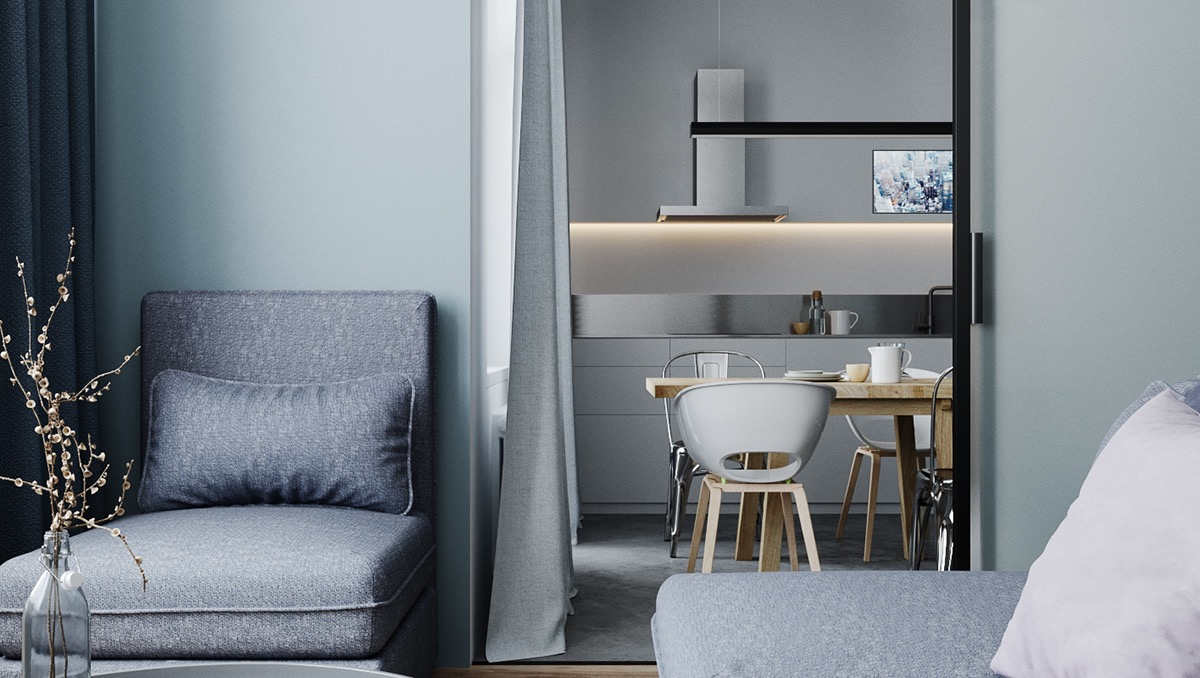 Two Small Apartments: A Blue Oasis of Minimalist Living images 13