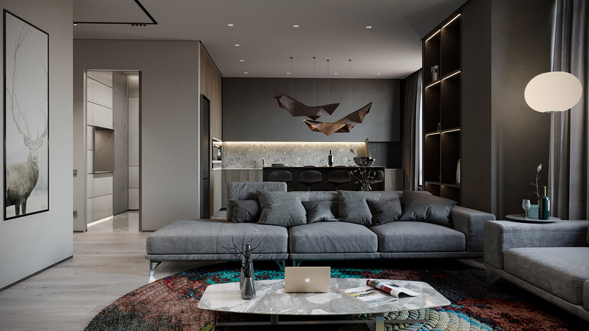 Grey Based Decor With Warming Accent Colours images 22
