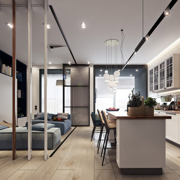 Two Small Apartments: A Blue Oasis of Minimalist Living