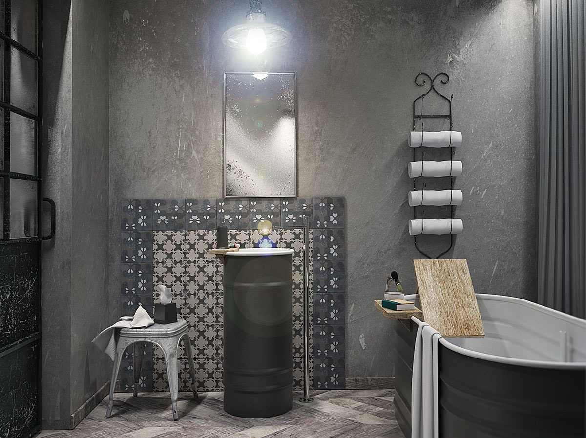 51 Industrial Style Bathrooms Plus Ideas & Accessories You Can Copy From Them images 31