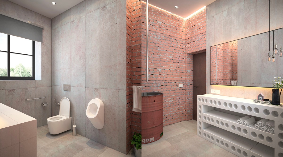 51 Industrial Style Bathrooms Plus Ideas & Accessories You Can Copy From Them images 28
