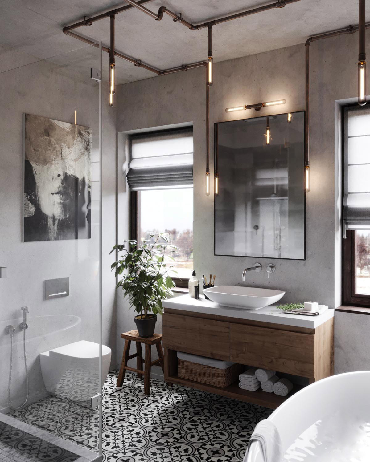 51 industrial style bathrooms plus ideas accessories you for Industrial farmhouse design
