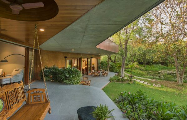 Curvilinear Architecture with Landscaped Gardens