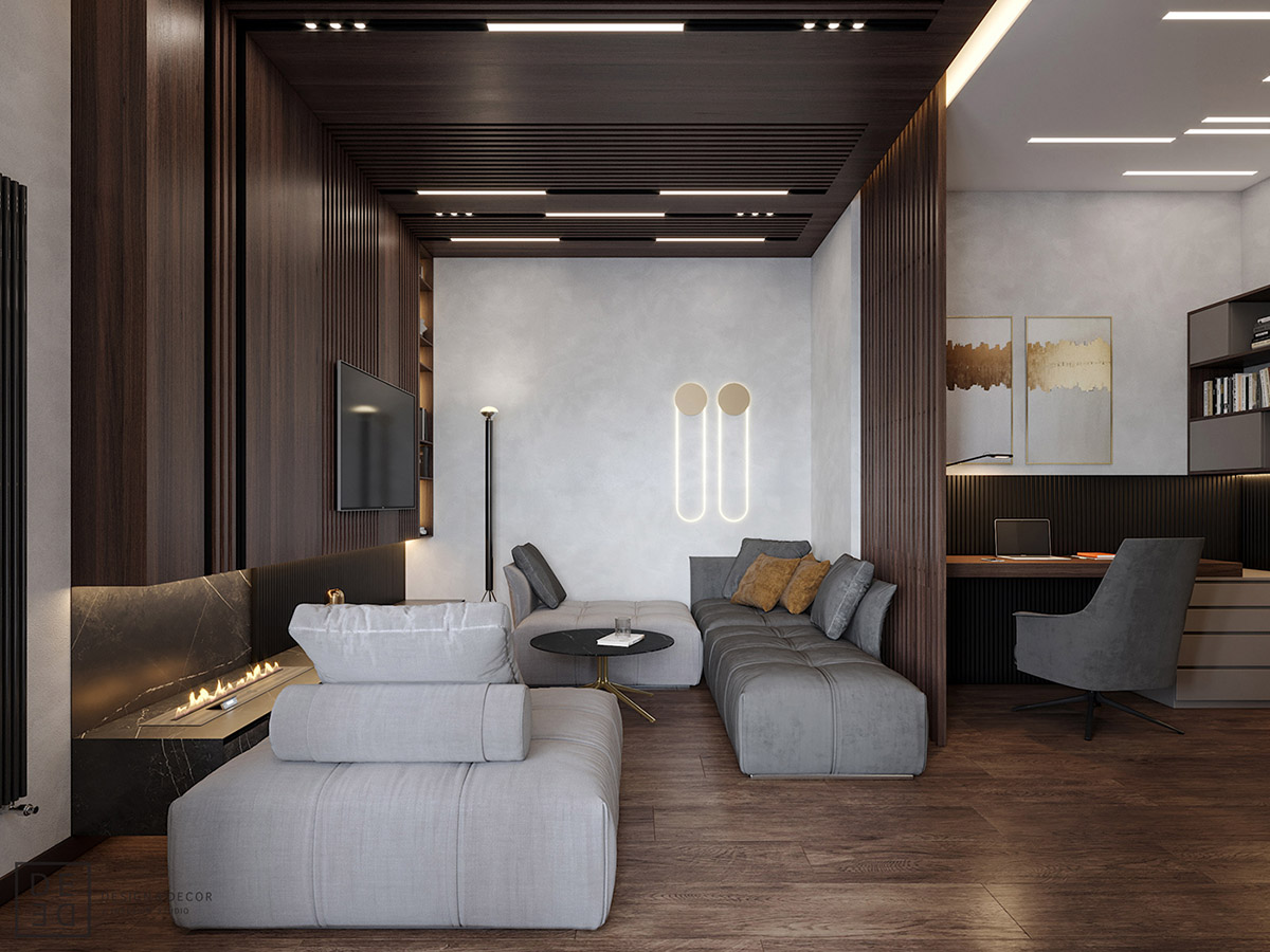Luxurious Interior With Wood Slat Walls images 1