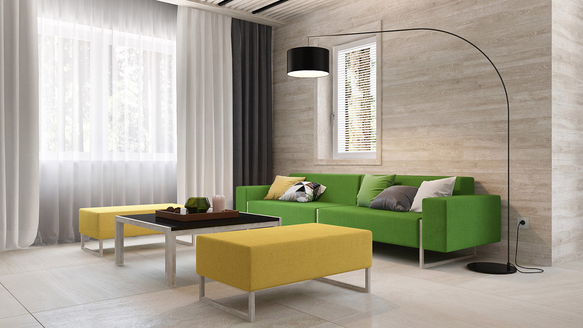 Green And Yellow Accent Interior In Moscow