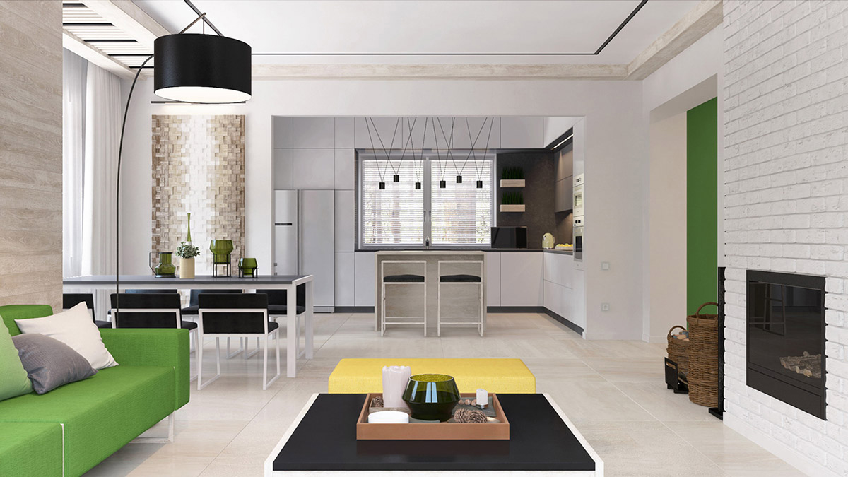 Green And Yellow Accent Interior In Moscow images 2