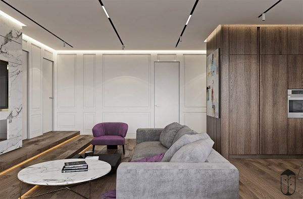 Delicieux A Cozy Modern Home With White Marble And Purple Accents ...