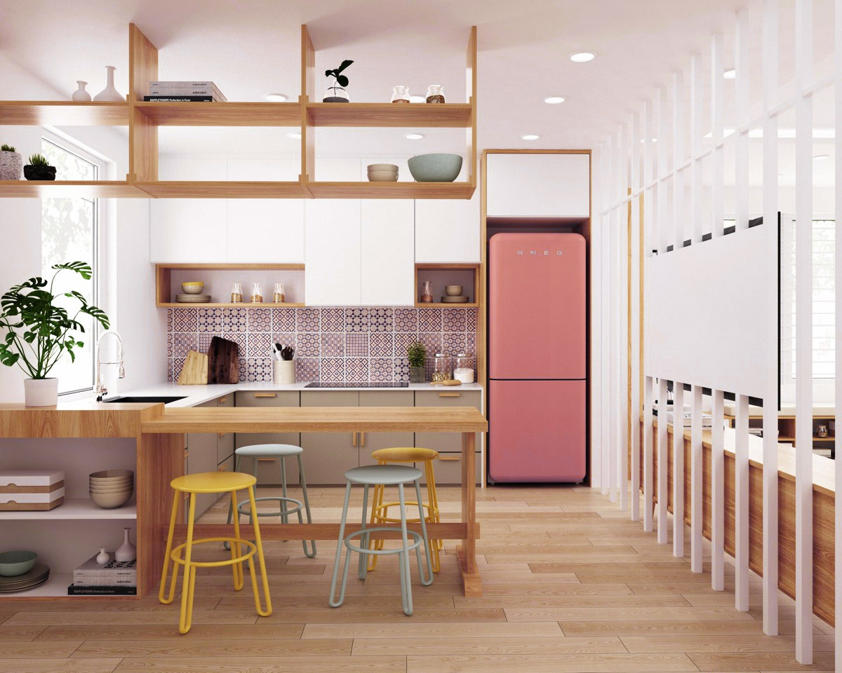 51 Inspirational Pink Kitchens With Tips & Accessories To Help You Design Yours images 39