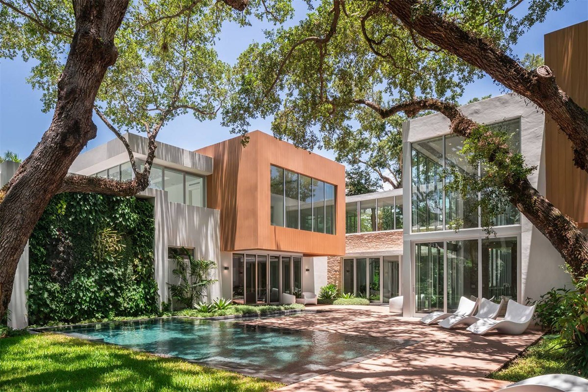 The Sophisticated Modern Miami Mansion Also Includes Walk In Closets A Fitness Room 3 Car Garage Natural Stone And Wood Flooring Central Vac
