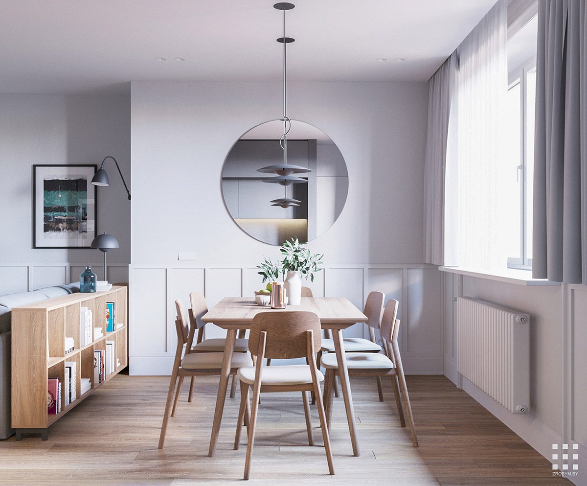 Attirant ... Wood Dining Room Table And Six Chairs. A Large Round Wall Mirror  Reflects The Pendant Lights, Creating The Illusion Of More. The Low Level  Wood Shelving ...