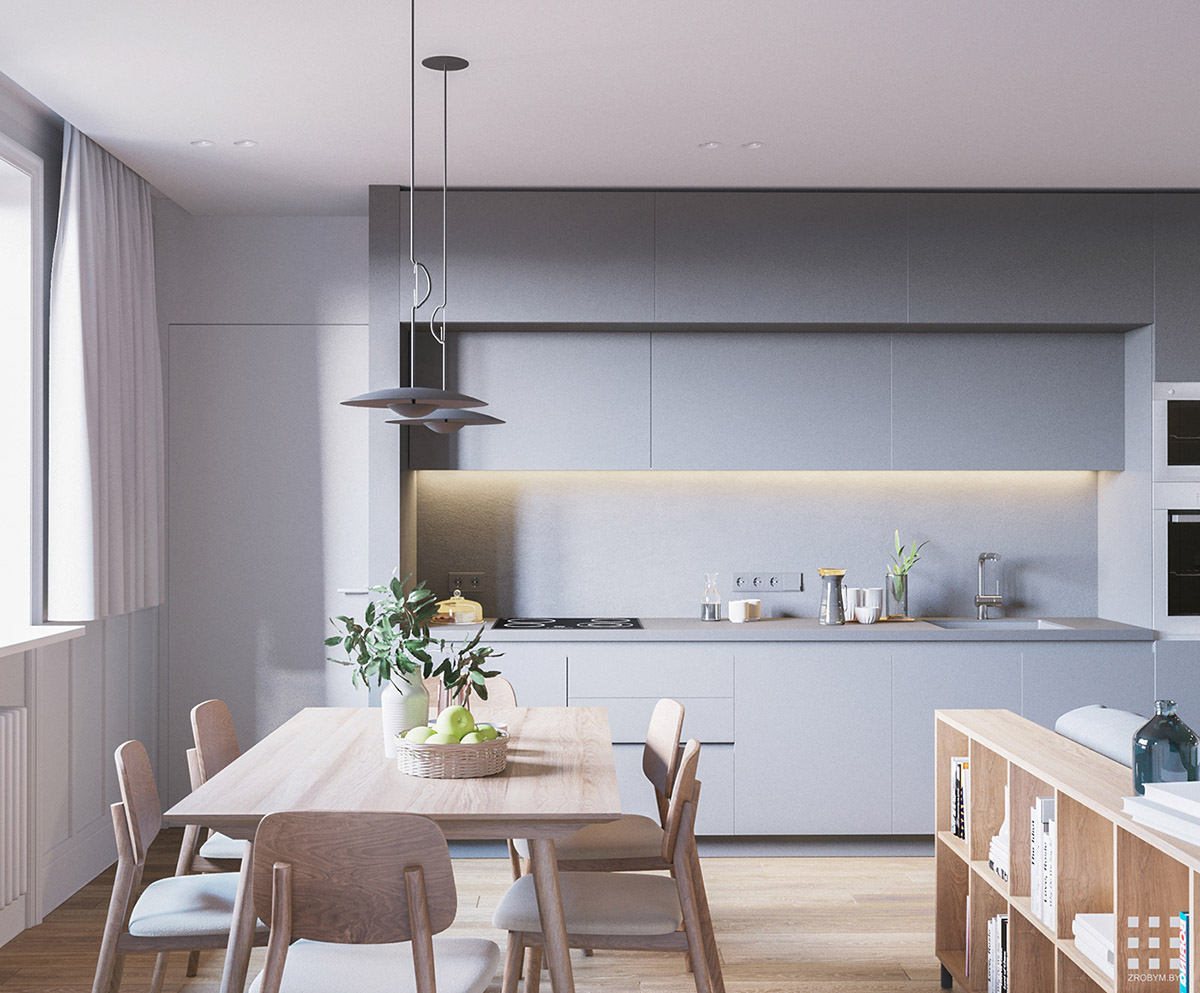 Superbe The Light Wood Tone Dining Set Coupled With The Light Grey Kitchen Looks  Calming And Serene. The Door By The Side Of The Kitchen Leads To The  Dedicated Home ...