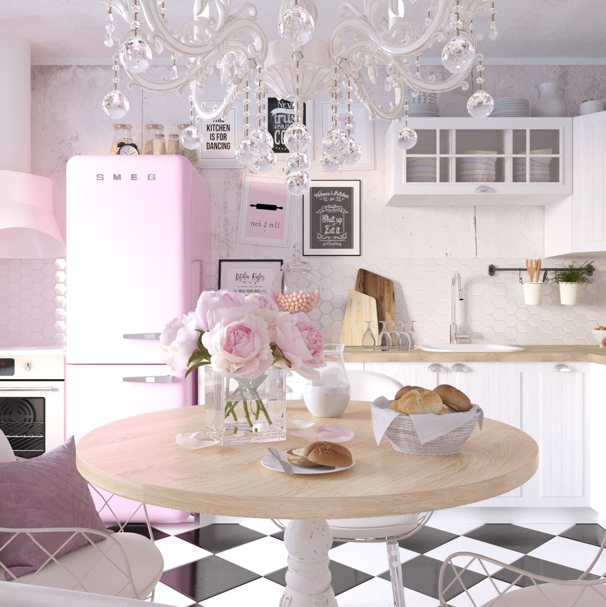51 Inspirational Pink Kitchens With Tips & Accessories To Help You Design Yours images 40