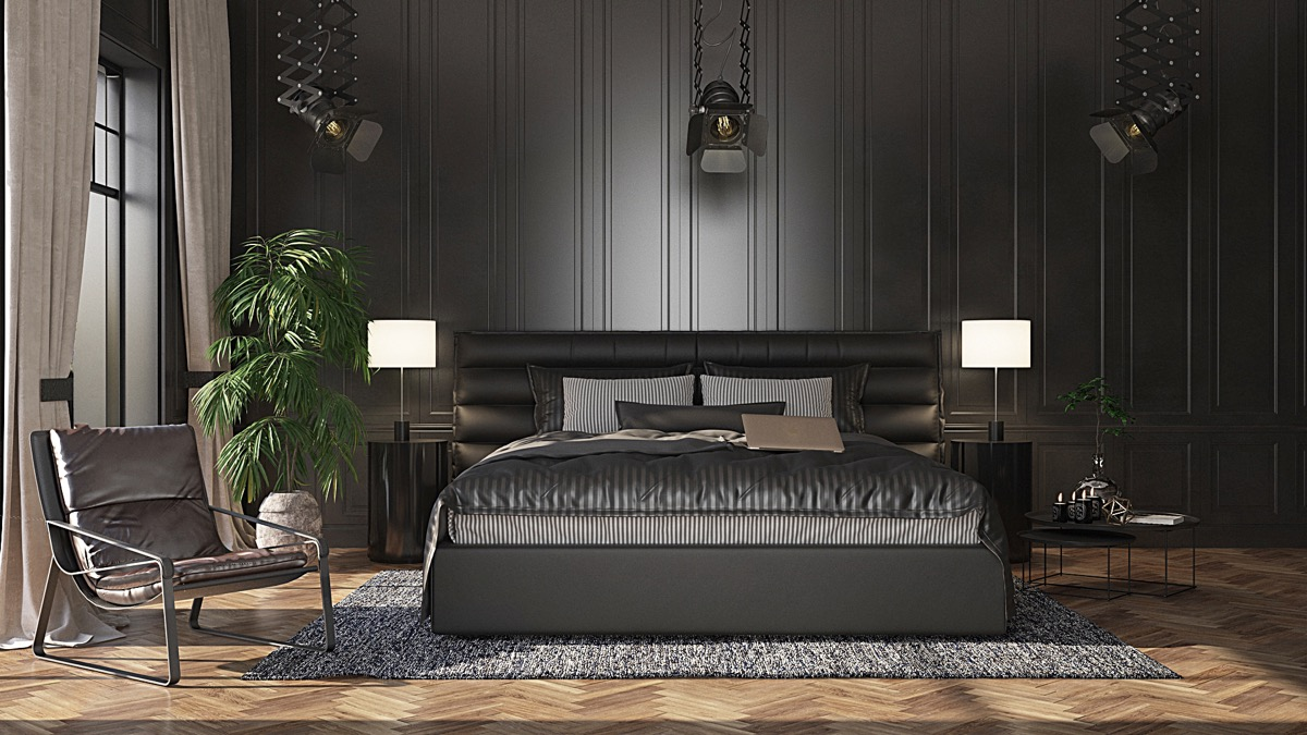 black white and grey bedroom