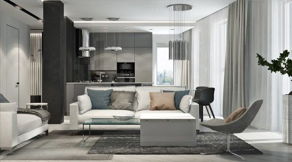 Blush, Black And White Decor In A Modern Family Apartment
