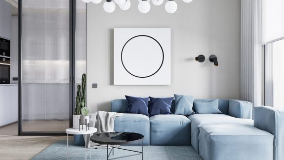 Circle Themed Small Apartment In Beautiful Blue & Bronze Decor
