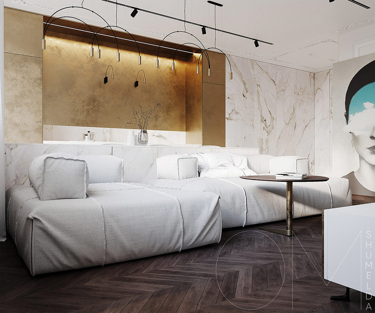 3 Luxe Home Interiors With White Marble Gold Accents