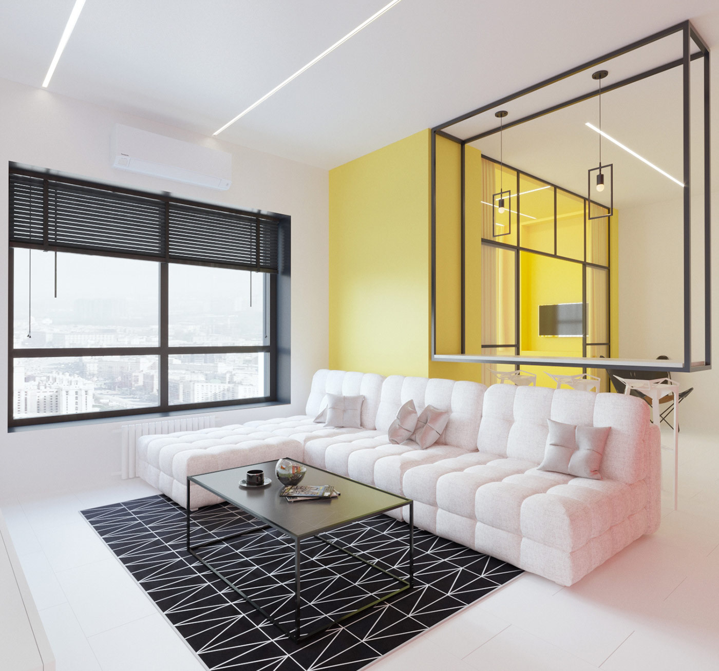 Mondrian Inspired Interior With Modern Geometric Accents