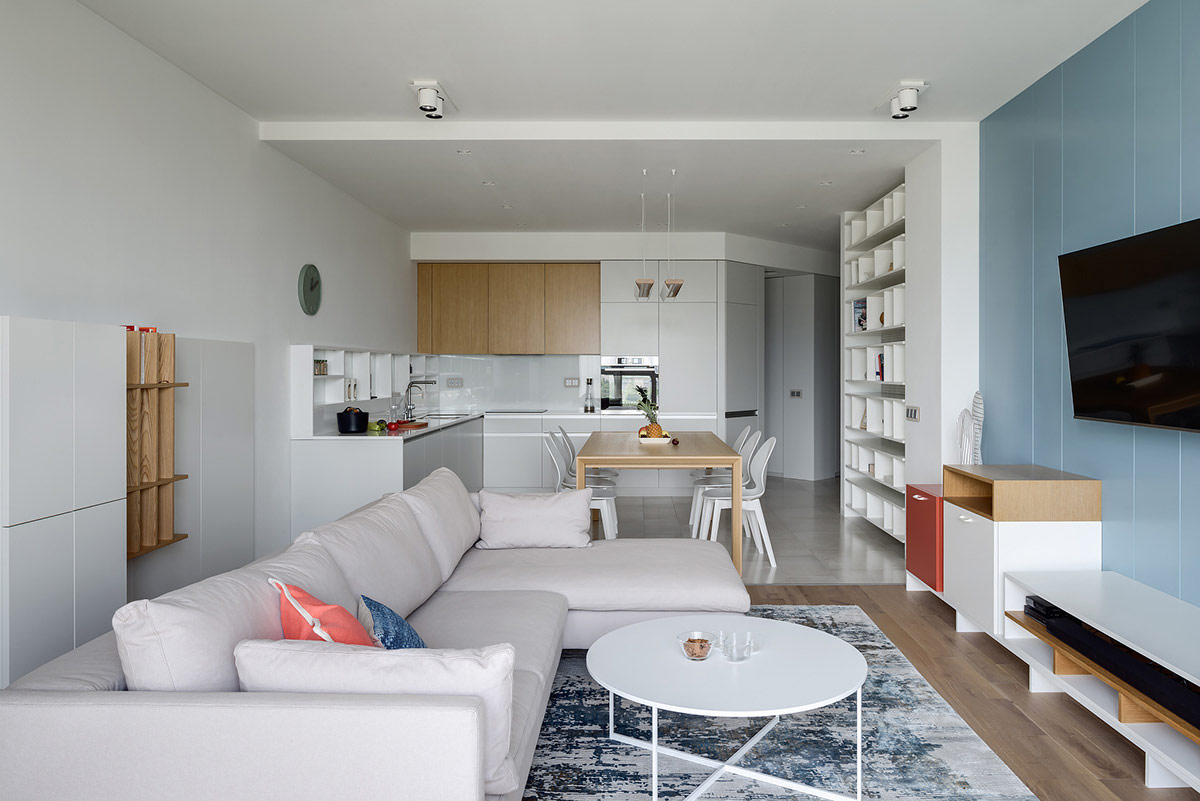 two punchy modern apartments with red and blue decor