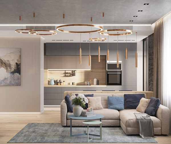 First Class Family Home With Blue, Pink And Gold Decor