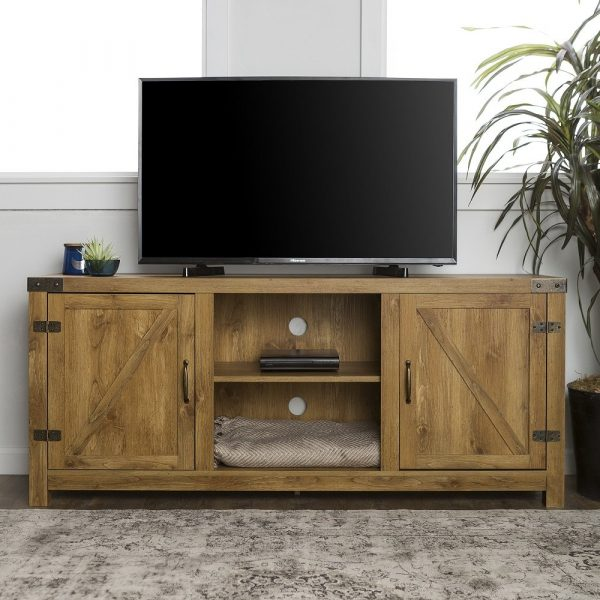 Rustic Farmhouse TV Stand Storage Entertainment Media Console Cabinet Living Rm