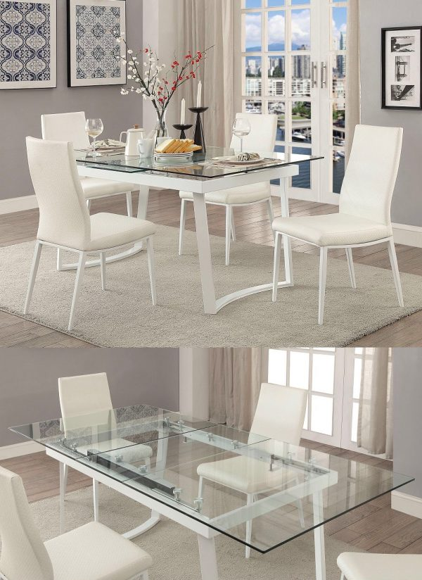 Modern 6Seaters Tempered Glass Dining Table and Chair Set White High Back Chairs
