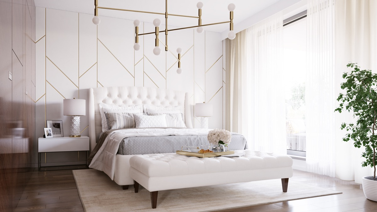 Home Design Ideas and Tips: all white transitional bedroom with subtle gold accents